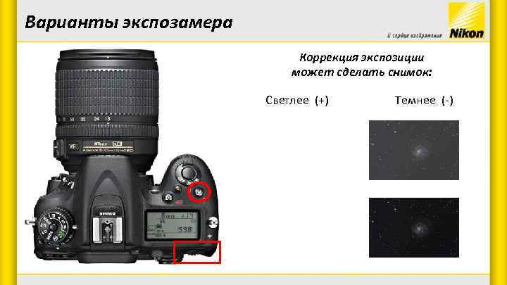 Варианты экспозамера Коррекция экспозиции может сделать снимок: Светлее (+) Темнее (-)