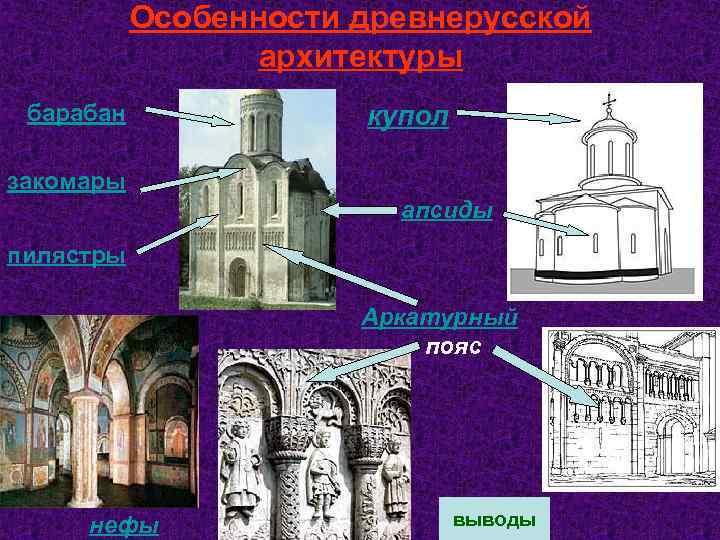 Особенности древнерусской архитектуры барабан купол закомары апсиды пилястры Аркатурный пояс нефы выводы