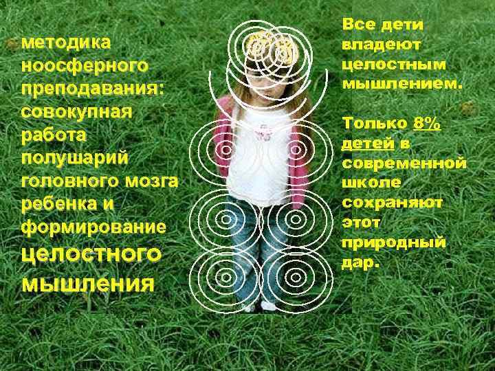 методика ноосферного преподавания: совокупная работа полушарий головного мозга ребенка и формирование целостного мышления Все
