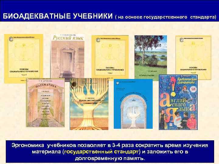 БИОАДЕКВАТНЫЕ УЧЕБНИКИ ( на основе государственного стандарта) Эргономика учебников позволяет в 3 -4 раза