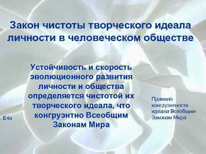 Закон чистоты творческого идеала личности в человеческом обществе I. Е 4 а Устойчивость и
