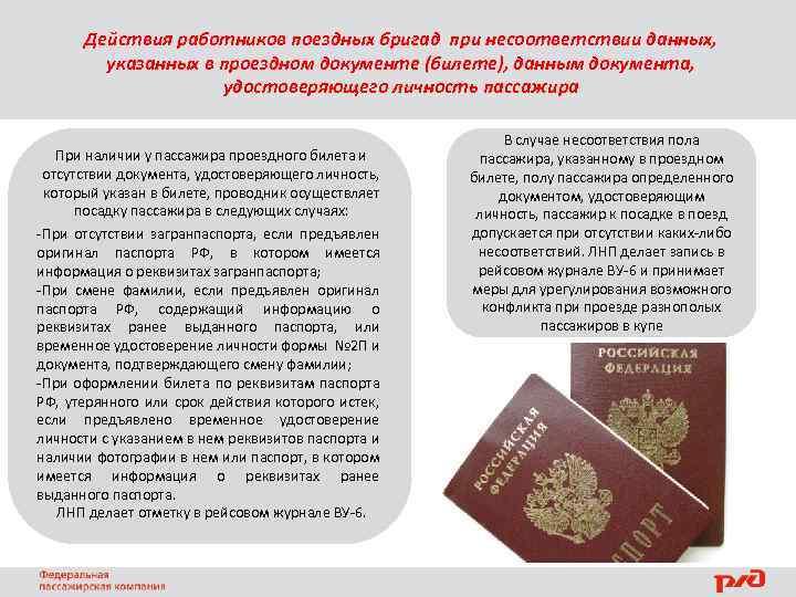 Действия работников поездных бригад при несоответствии данных, указанных в проездном документе (билете), данным документа,