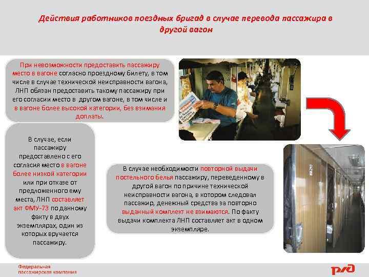 Действия работников поездных бригад в случае перевода пассажира в другой вагон При невозможности предоставить
