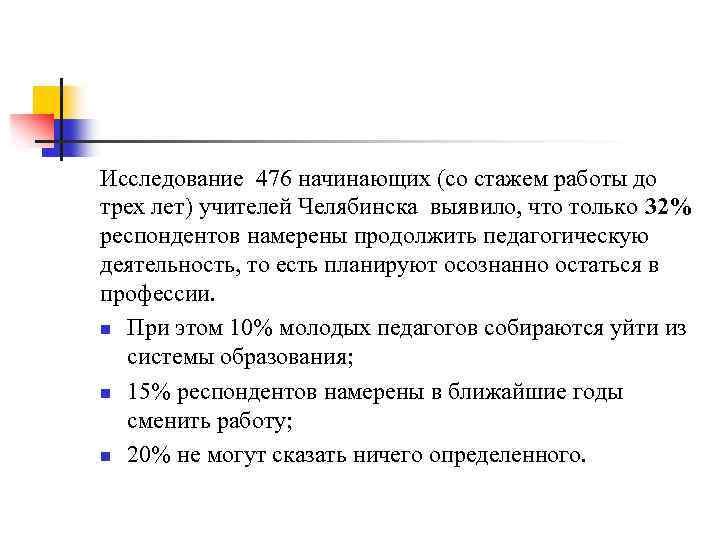 Исследование 476 начинающих (со стажем работы до трех лет) учителей Челябинска выявило, что только