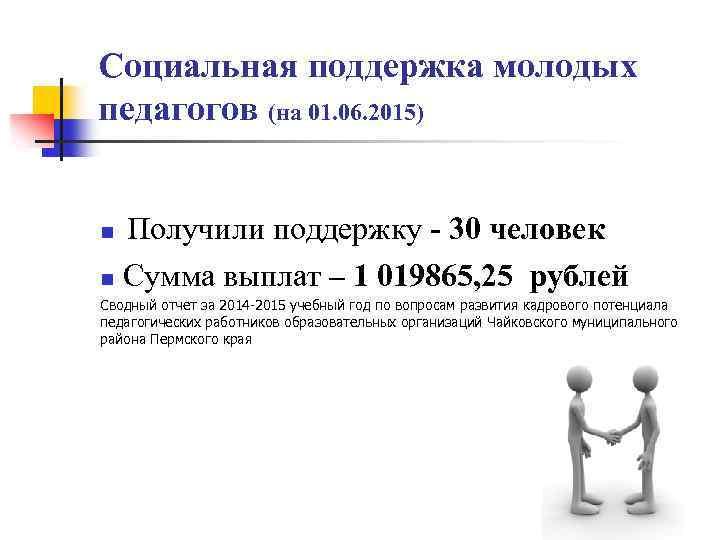 Социальная поддержка молодых педагогов (на 01. 06. 2015) Получили поддержку - 30 человек n