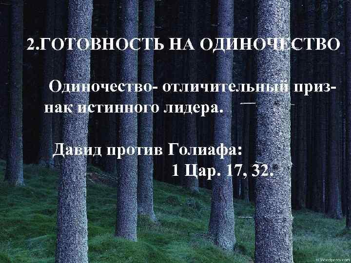 2. ГОТОВНОСТЬ НА ОДИНОЧЕСТВО Одиночество- отличительный признак истинного лидера. Давид против Голиафа: 1 Цар.