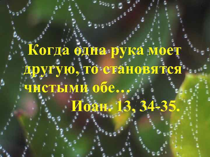 Когда одна рука моет другую, то становятся чистыми обе… Иоан. 13, 34 -35.