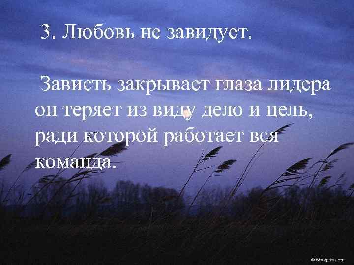 3. Любовь не завидует. Зависть закрывает глаза лидера он теряет из виду дело и
