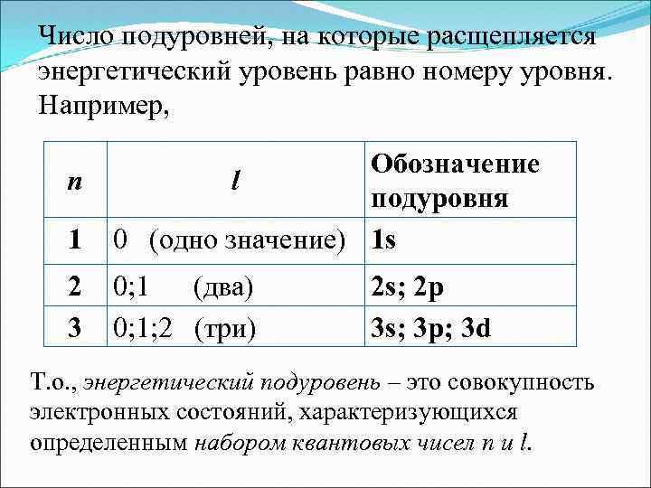 Число подуровней, на которые расщепляется энергетический уровень равно номеру уровня. Например, 1 Обозначение l