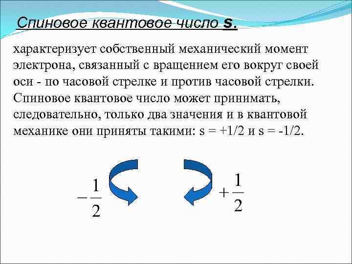 Спиновое квантовое число s. характеризует собственный механический момент электрона, связанный с вращением его вокруг