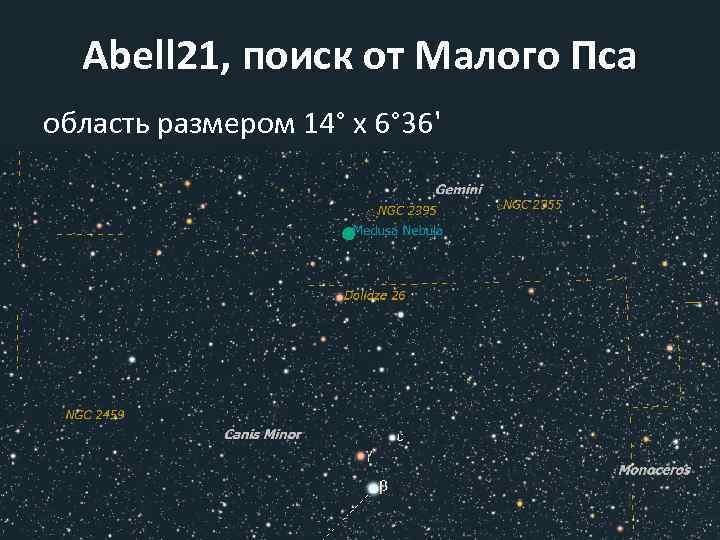 Abell 21, поиск от Малого Пса область размером 14° x 6° 36'