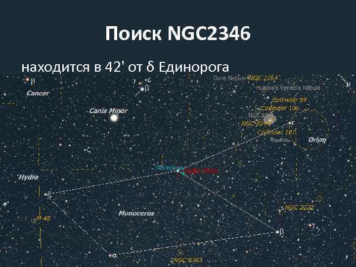 Поиск NGC 2346 находится в 42' от δ Единорога