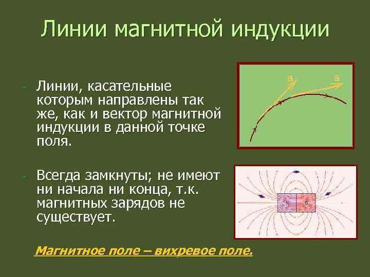 Линии магнитной индукции - Линии, касательные которым направлены так же, как и вектор магнитной