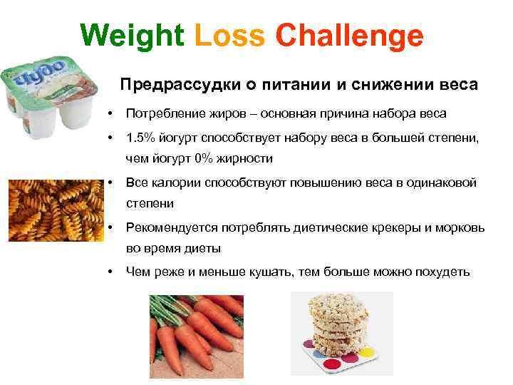 Weight Loss Challenge Предрассудки о питании и снижении веса • Потребление жиров – основная