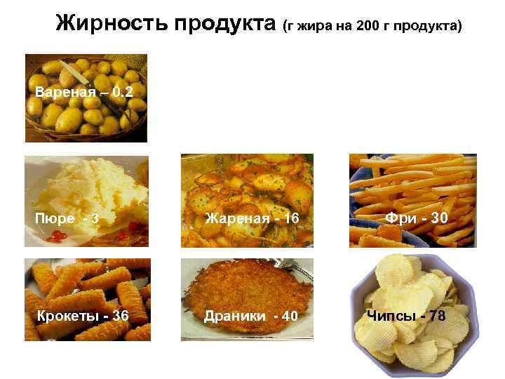 Жирность продукта (г жира на 200 г продукта) Вареная – 0. 2 Пюре -