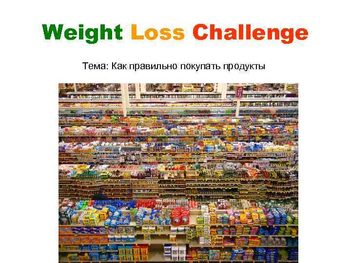 Weight Loss Challenge Тема: Как правильно покупать продукты