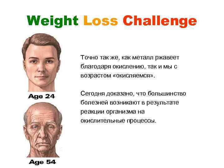 Weight Loss Challenge Точно так же, как металл ржавеет благодаря окислению, так и мы