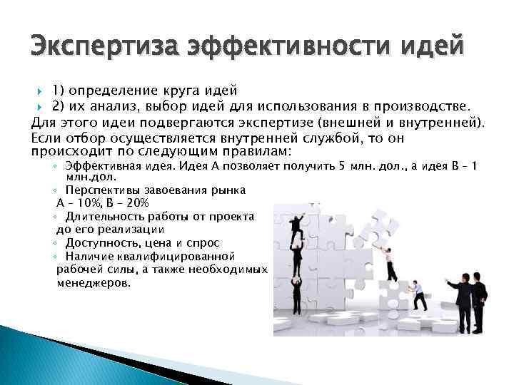 Экспертиза эффективности идей 1) определение круга идей 2) их анализ, выбор идей для использования