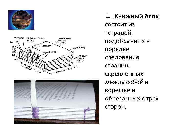 q Книжный блок состоит из тетрадей, подобранных в порядке следования страниц, скрепленных между собой