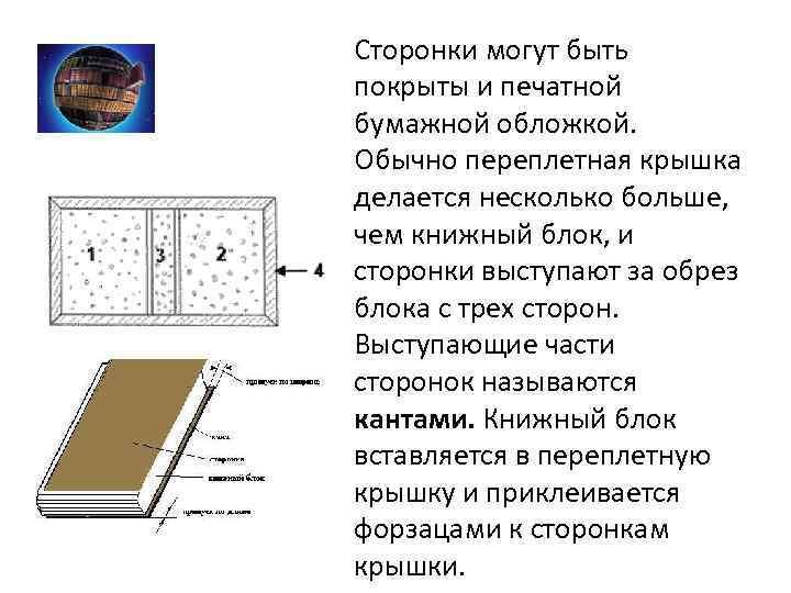 Сторонки могут быть покрыты и печатной бумажной обложкой. Обычно переплетная крышка делается несколько больше,