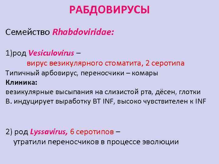 РАБДОВИРУСЫ Семейство Rhabdoviridae: 1)род Vesiculovirus – вирус везикулярного стоматита, 2 серотипа Типичный арбовирус, переносчики