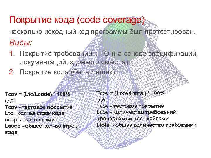 Покрытие кода (code coverage) насколько исходный код программы был протестирован. Виды: 1. Покрытие требований