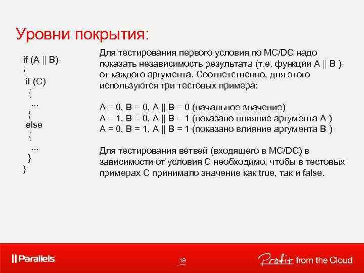 Уровни покрытия: if (A || B) { if (C) { . . . }