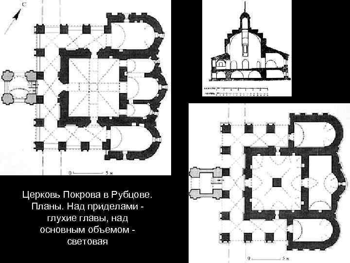 Церковь Покрова в Рубцове. Планы. Над приделами глухие главы, над основным объемом световая