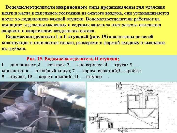 Водомаслоотделители инерционного типа предназначены для удаления влаги и масла в капельном состоянии из сжатого