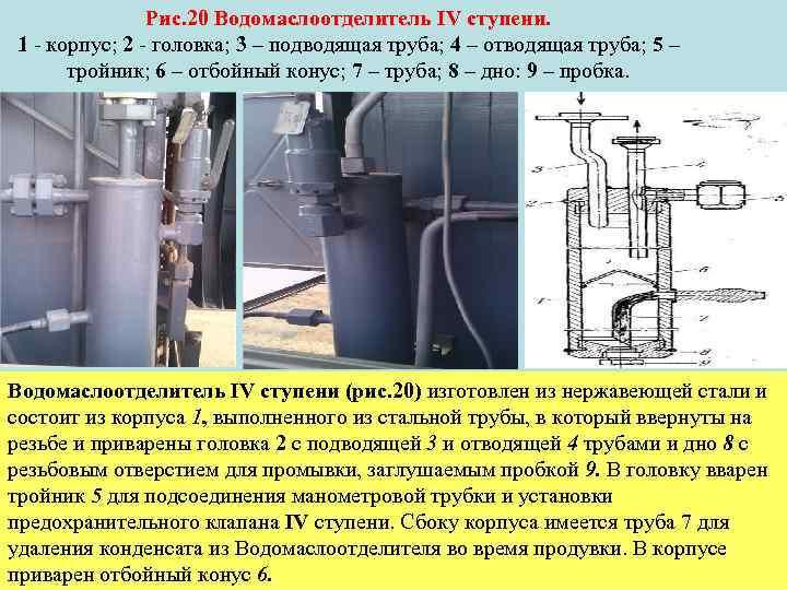 Рис. 20 Водомаслоотделитель IV ступени. 1 корпус; 2 головка; 3 – подводящая труба; 4