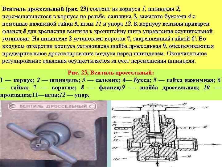 Вентиль дроссельный (рис. 23) состоит из корпуса 1, шпинделя 2, перемещающегося в корпусе по