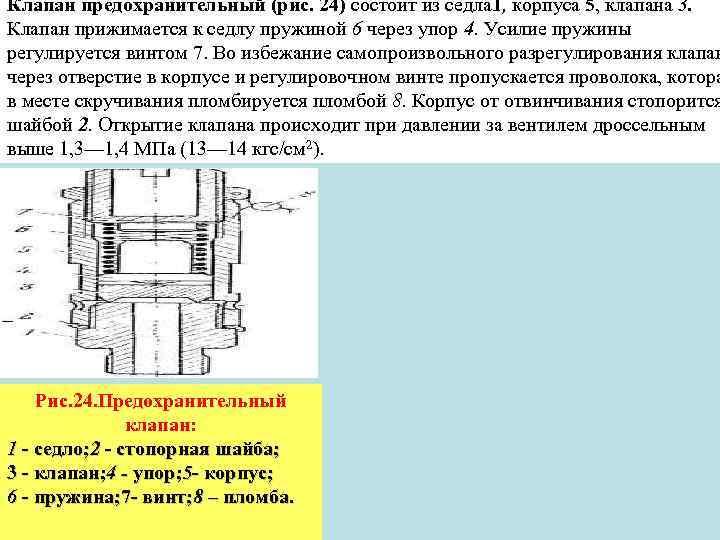 Клапан предохранительный (рис. 24) состоит из седла 1, корпуса 5, клапана 3. Клапан прижимается