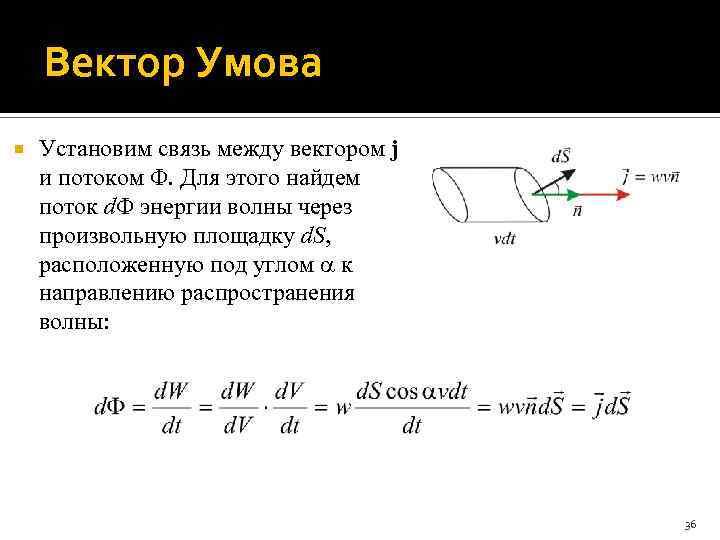 Вектор Умова Установим связь между вектором j и потоком . Для этого найдем поток