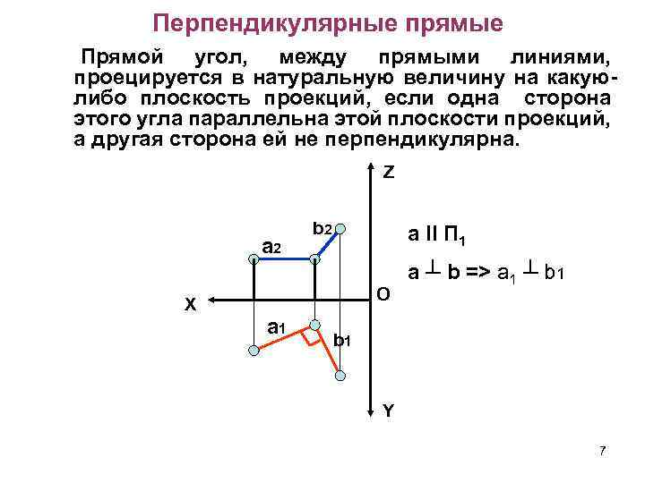 Перпендикулярные прямые Прямой угол, между прямыми линиями, проецируется в натуральную величину на какуюлибо плоскость