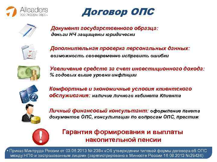 Договор ОПС Документ государственного образца: деньги НЧ защищены юридически Дополнительная проверка персональных данных: возможность