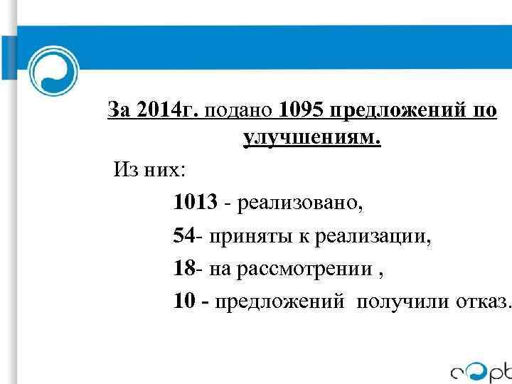 За 2014 г. подано 1095 предложений по улучшениям. Из них: 1013 - реализовано, 54
