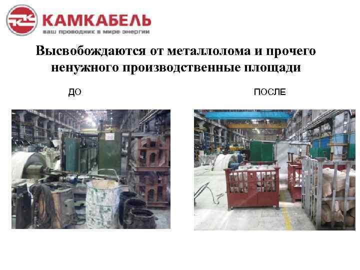 Высвобождаются от металлолома и прочего ненужного производственные площади ДО ПОСЛЕ