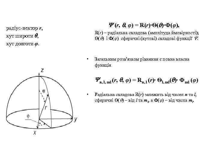 (r, , φ) = R(r)∙Ѳ( )∙Ф(φ), радіус-вектор r, кут широти , кут довготи