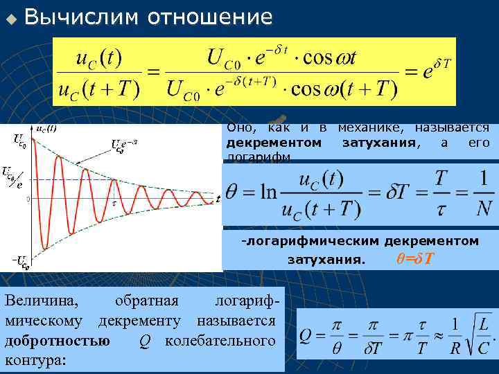 u Вычислим отношение Оно, как и в механике, называется декрементом затухания, а его логарифм