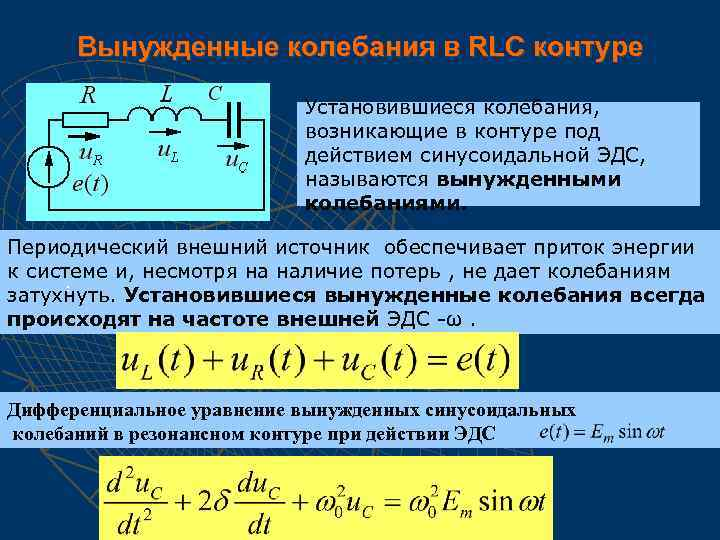 Вынужденные колебания в RLC контуре Установившиеся колебания, возникающие в контуре под действием синусоидальной ЭДС,