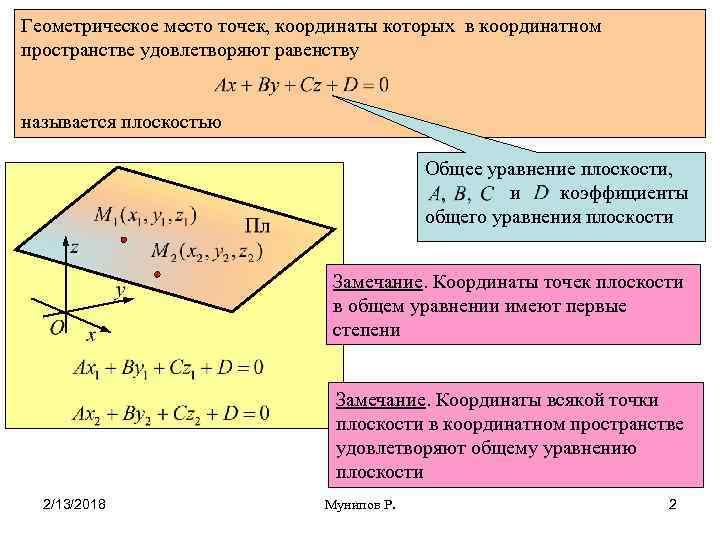 Геометрическое место точек, координаты которых в координатном пространстве удовлетворяют равенству называется плоскостью Общее уравнение