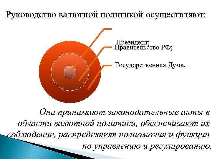 Руководство валютной политикой осуществляют: Президент; Правительство РФ; Государственная Дума. Они принимают законодательные акты в
