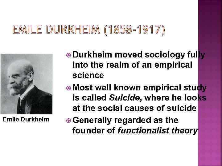 durkheims study of suicide A good example of this would be a suicide bomber durkheim's third type of suicide is anomic durkheim, emile, suicide: a study in sociology, new.