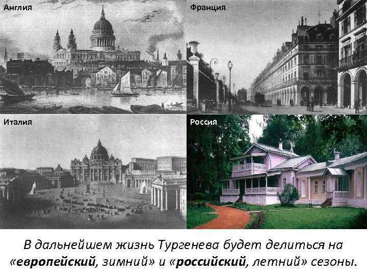 Англия Франция Италия Россия В дальнейшем жизнь Тургенева будет делиться на «европейский, зимний» и