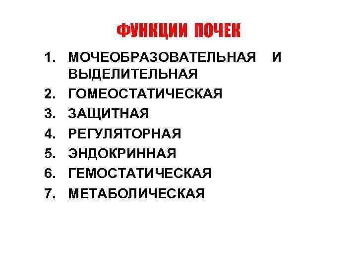 ФУНКЦИИ ПОЧЕК 1. МОЧЕОБРАЗОВАТЕЛЬНАЯ ВЫДЕЛИТЕЛЬНАЯ 2. ГОМЕОСТАТИЧЕСКАЯ 3. ЗАЩИТНАЯ 4. РЕГУЛЯТОРНАЯ 5. ЭНДОКРИННАЯ 6.