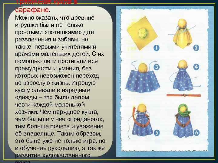 Тряпичная кукла в сарафане. Можно сказать, что древние игрушки были не только простыми «потешками»