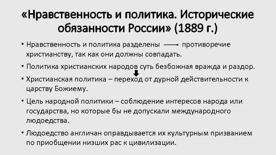 «Нравственность и политика. Исторические обязанности России» (1889 г. ) • Нравственность и политика