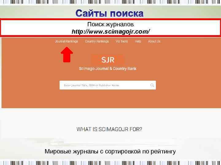 Поиск журналов http: //www. scimagojr. com/ Мировые журналы с сортировкой по рейтингу