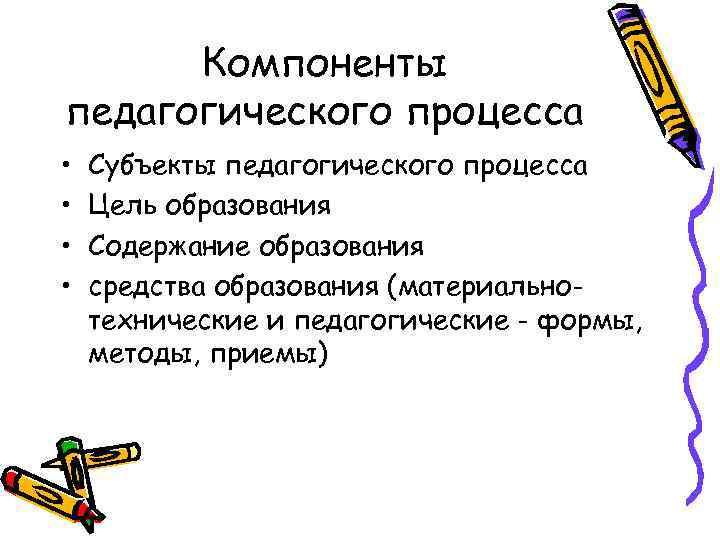 Компоненты педагогического процесса • • Субъекты педагогического процесса Цель образования Содержание образования средства образования