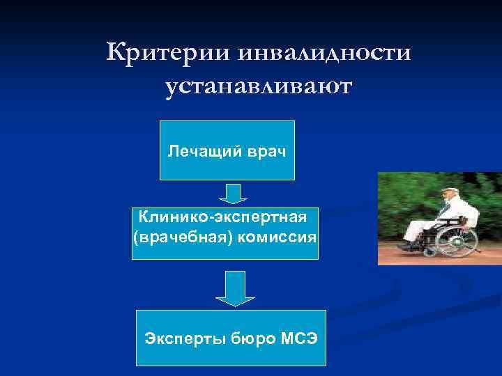 Критерии инвалидности устанавливают Лечащий врач Клинико-экспертная (врачебная) комиссия Эксперты бюро МСЭ